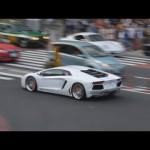 爆音を響かせるアヴェンタドールとフェラーリ。Lamborghini Aventador,Gallardo,Murcielago & Ferrari Enzo,458,F430