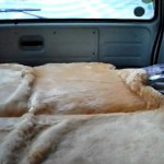 100系ハイエースバンで車中泊 車の中で朝食編 岩井ムートンファミリー