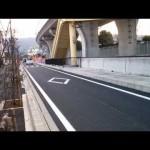 国道1号下り 静岡市葵区昭府IC出口地先合流部 側道の歩道橋