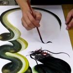 【これぞ芸術!一筆龍】一筆で描かれる美しい龍の姿が素晴らしい!