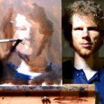 【鏡に映るキャンバスを見て描く油絵の自画像!】スコットランドのエディンバラのアーティストEwan McClureさん!